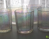 Vintage carnival glass/aurora borealis water glasses.