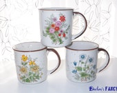 Reserved for Ulrike. Vintage wildflower mugs and canister. Blue, Pink, Yellow. New Price