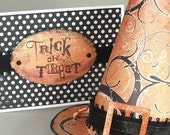 SET of TWO - Witch's Treat Hat with Cards in Orange and Black