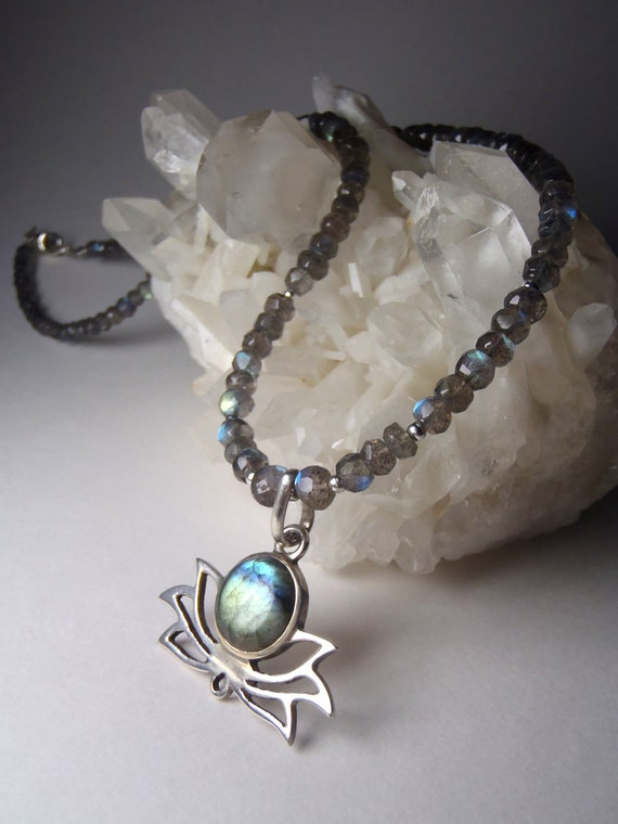 Labradorite Lotus Necklace - Graduated Micro-Faceted Beads with Sterling Silver Findings