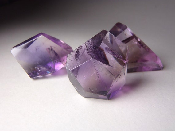 Faceted Ametrine Crystals - Amethyst / Citrine - Set of Three