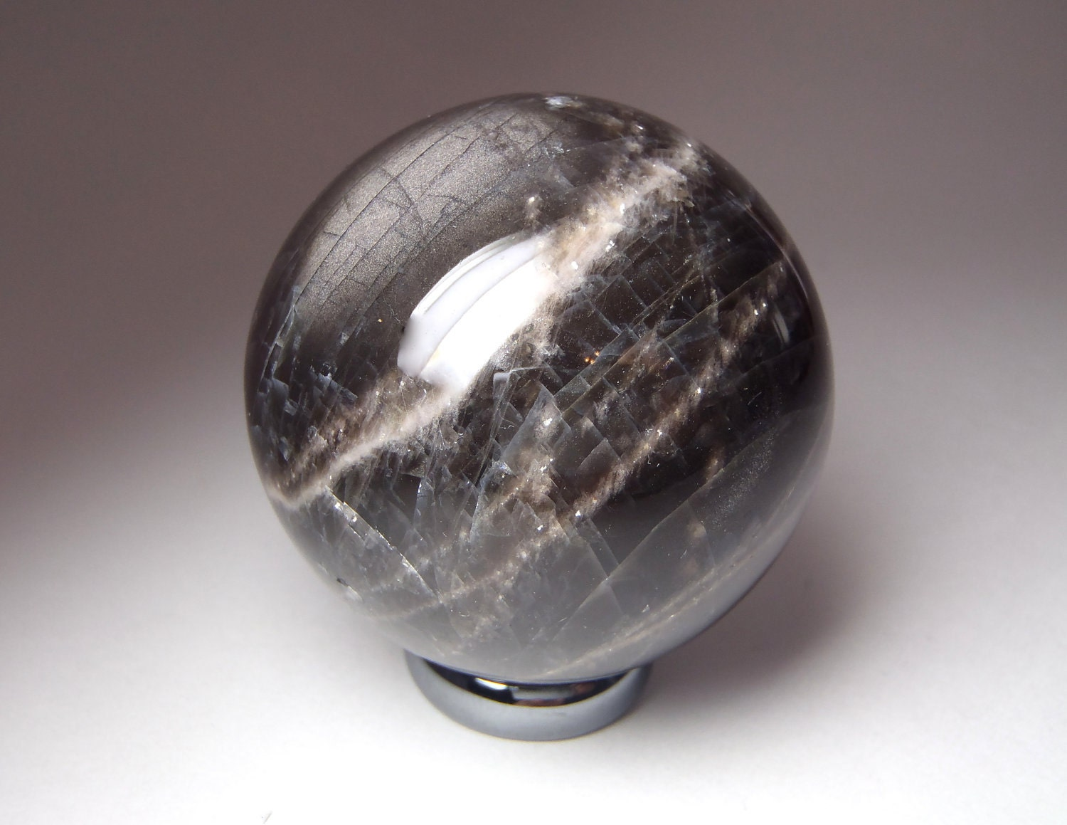 Dark Moon Magic Black Moonstone Sphere / Scrying Ball for