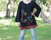 SALE 28 USD--B037--Destiny2  (Cotton blouse with flowers embroidery)
