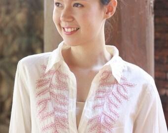 SALE 15% OFF --B094--- Pink Leaf Shirt