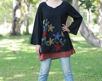 SALE 29 USD--B069--Destiny2  (Cotton blouse with flowers embroidery)