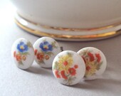 Vintage Porcelain Flower stud earrings set - two pairs