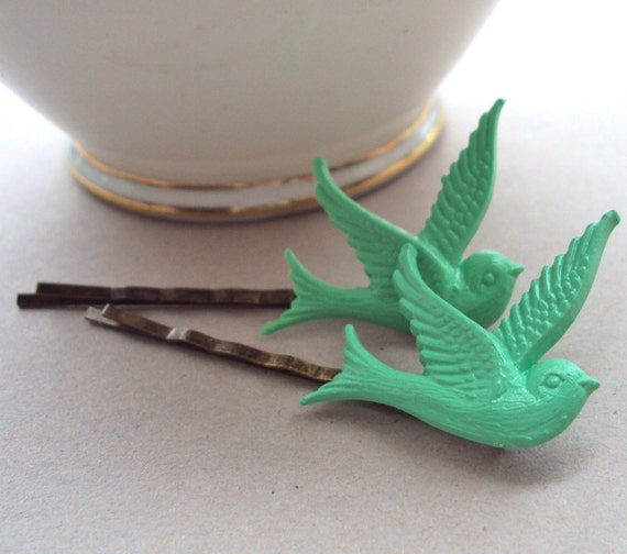 Green Swallow hair slides - vintage style