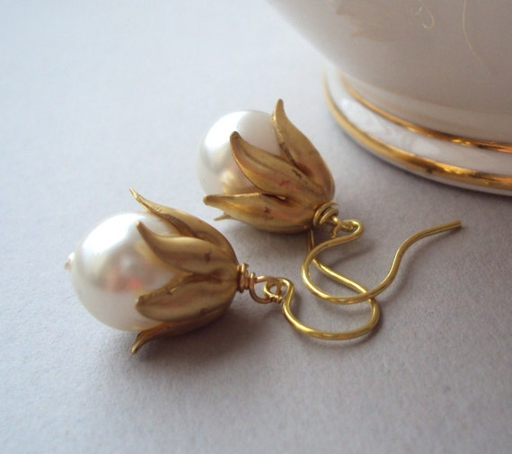 White Pearl earrings with brass bud bead caps