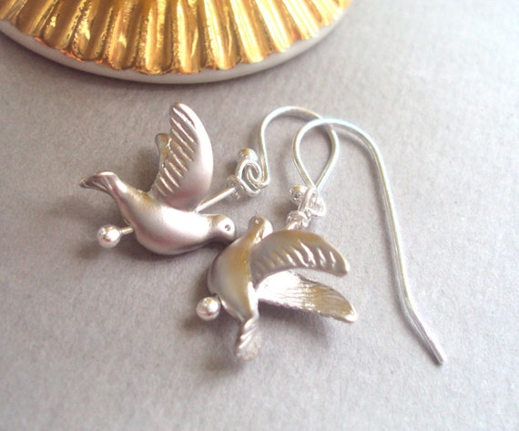Silver Dove Bird dangly earrings with sterling silver ear wires