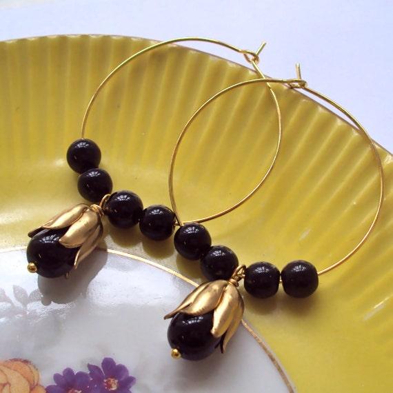 Black and Gold Hoop earrings - black beaded hoops