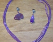 Zuni style Bear and Tiered Round Stones Pendants and Necklace Set in Purple, Purple Jade, Purple Agate and Indian Agate