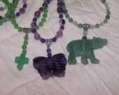 Natural Stone Necklace BUYERS CHOICE/ Butterfly / Cross / Bear