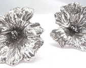 large silver flower, stud earrings, wildflower post earrings, botanical jewelry, sterling silver ,
