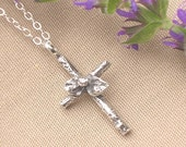 womens cross necklace twig cross with wildflower botanical jewelry sterling silver