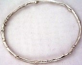 rustic twig bangle bracelet woodland wedding jewelry 5 sizes silver nature jewelry medium weight