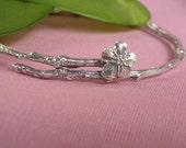 Forget me not bracelet remembrance jewelry sterling silver bangle bracelet 4 sizes twig jewelry