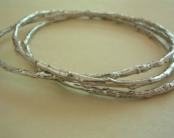 twig bangle bracelet set, boho rustic bangles, nature jewelry, sterling silver, medium weight