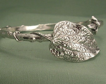 statement bracelet tree branch and clematis leaf bracelet woodland twig jewelry sterling silver standard size