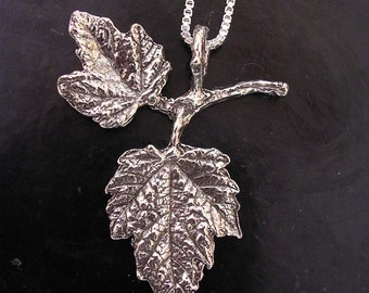 maple leaf necklace botanical jewelry sterling silver 2 leaf necklace nature jewelry