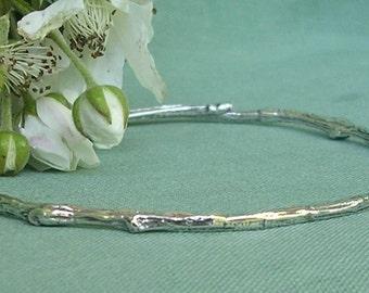 Extra small bangle bracelet to plus size bangle bracelet natural twig bracelet sterling silver