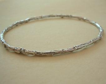 twig bangle bracelet large size bangle sterling silver nature jewelry medium weight