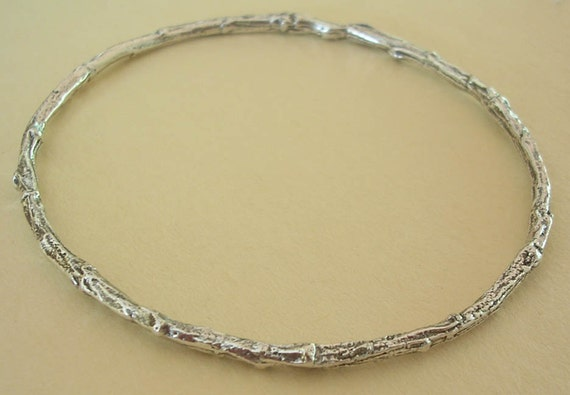 Silver twig bangle bracelet sterling silver medium weight stackable bracelet nature bracelet woodland botanical jewelry