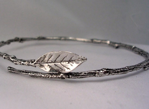 Rose leaf bangle bracelet twig bracelet sterling silver standard size