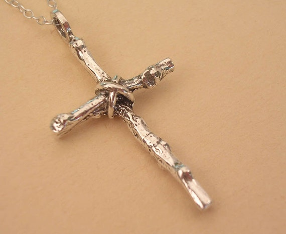 small rustic twig cross necklace sterling silver cross necklace nature jewelry