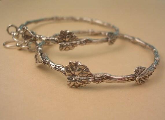 twig and leaf hoop earrings sterling silver nature jewelry