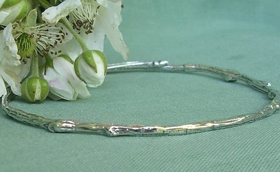Extra small bangle bracelet to plus size bangle bracelet natural twig bracelet sterling silver