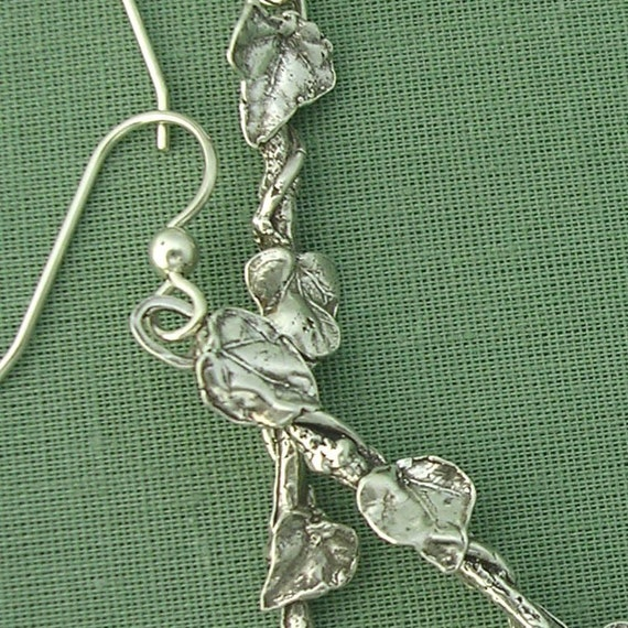 Vining ivy leaf twig earrings sterling silver