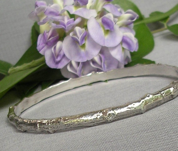silver tree branch bangle bracelet, twig jewelry, extra small bangle, sterling silver