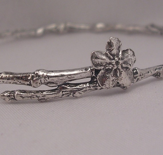 remembrance jewelry forget me not bracelet twig bangle solid sterling silver