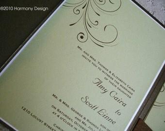 Metallic Bronze and Matte Green Flourish Pocketfold Wedding Invitation with Swarovski Crystals - Design Fee
