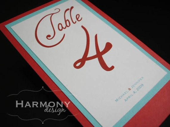 Double-Sided Reception Table Number Cards - Set of 10