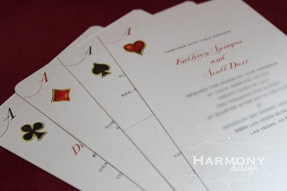 Las Vegas Deck of Cards Invitation, Double-Sided, Rounded Corners, Metallic Cardstock - Design Fee