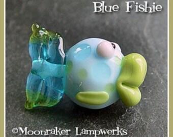 Blue Fishie Lampwork Bead