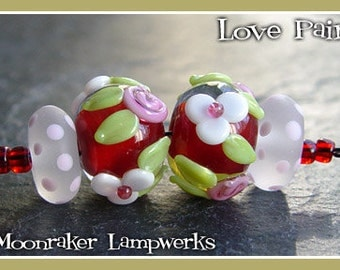 Love is in the Air Floral Pair - Lampwork Beads