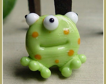 Green Spotted Lil Monster Halloween Lampwork Bead