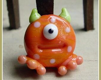 Orange Spotted Lil Monster Halloween Lampwork Bead