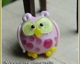 Pink Owl Lampwork Bead