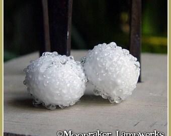 Sugared Snowball White Lampwork Bead