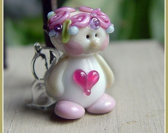 Love Fairy Pink Heart Lampwork Bead