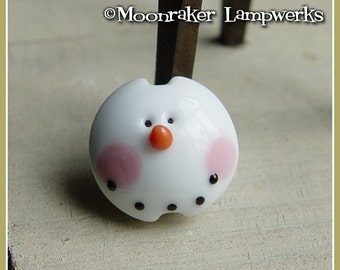 Snowman Lentil  Winter Holiday Lampwork Bead