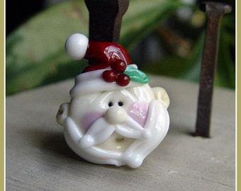 Flat Backed Santa Holiday Christmas Lampwork Bead