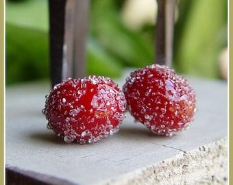 Red Sugar Lampwork Bead