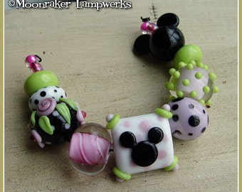 Fantasyland Mouse Lampwork Bead Set
