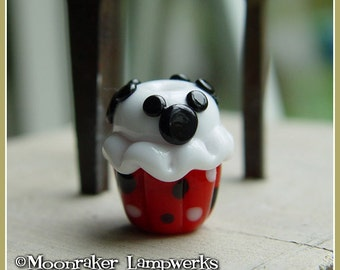 Red Mouse Ears Cupcake Treat Lampwork Bead