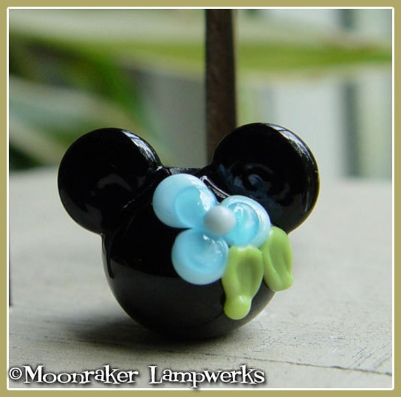Aqua Blue Flower Mouse Ears Lampwork Bead