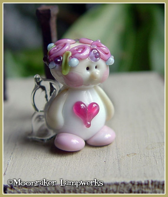 Love Fairy Pink Heart Lampwork Bead
